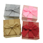 Karton Set bizhuteri Box, with Saten Ribbon, Katror, asnjë, ngjyra të përziera, 50x50x31mm, 24PC/Qese,  Qese