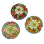 Beads Smooth Cloisonne, Round Flat, i përzier, 18x8mm, : 2mm, 40PC/Qese,  Qese