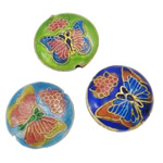 Beads Smooth Cloisonne, Round Flat, i përzier, 19x8mm, : 2mm, 40PC/Qese,  Qese