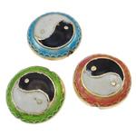 Beads Smooth Cloisonne, Round Flat, i përzier, 19x8mm, : 1.5mm, 30PC/Qese,  Qese