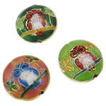 Beads Smooth Cloisonne, Round Flat, i përzier, 19x8mm, : 1.5mm, 40PC/Qese,  Qese