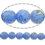 Rërë Beads Gold Lampwork, Round, asnjë, rërë ari, blu, 15mm, : 3mm, 50PC/Shumë,  Shumë