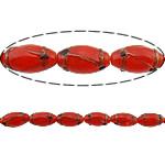 Rërë Beads Gold Lampwork, Oval, asnjë, rërë ari, i kuq, 25x14mm, : 2.5mm, 50PC/Shumë,  Shumë