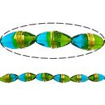 Gold petë Beads Lampwork, Oval, asnjë, petë ari, dy-ton, 29x14mm, : 3mm, 40PC/Shumë,  Shumë