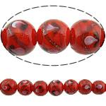 Rërë Beads Gold Lampwork, Round, asnjë, rërë ari, i kuq, 14mm, : 2mm, 50PC/Shumë,  Shumë