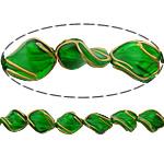 Beads dorë Lampwork, Kthesë, brushwork, asnjë, e gjelbër, 17x13x7mm, : 2mm, 10PC/Shumë,  Shumë