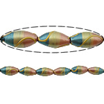 Beads dorë Lampwork, Oval, brushwork, me gunga, multi-colored, 19x10mm, : 2mm, 10PC/Shumë,  Shumë