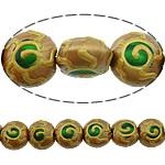 Beads dorë Lampwork, Round Flat, brushwork, asnjë, multi-colored, 12x12x9mm, : 2mm, 10PC/Shumë,  Shumë