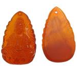 Pendants gur i çmuar bizhuteri, Carnelian, Buda, Gdhendur, asnjë, 24x40x9mm, : 1.5mm, 10PC/Qese,  Qese