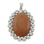 Pendants Goldstone, with Tunxh, Oval Flat, ngjyrë platin praruar, me diamant i rremë, 44x58x10mm, : 4.5x8mm, 10PC/Shumë,  Shumë