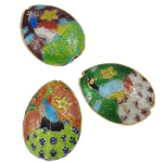 Beads Smooth Cloisonne, Oval, i përzier, 18x25x8mm, : 1.5mm, 30PC/Qese,  Qese
