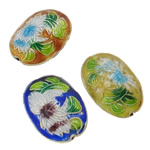 Beads Smooth Cloisonne, Oval, i përzier, 14x20x8mm, : 1.5mm, 40PC/Qese,  Qese