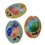 Beads Smooth Cloisonne, Oval, i përzier, 14x18x7mm, : 1x2mm, 40PC/Qese,  Qese