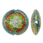 Beads Smooth Cloisonne, Round Flat, asnjë, 19x8mm, : 1.5mm, 40PC/Qese,  Qese