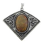 Pendants gur i çmuar bizhuteri, Jasper Kambaba, with Tunxh, Romb, ngjyrë platin praruar, smalt, 58x54x8mm, : 4x7mm, 20PC/Shumë,  Shumë