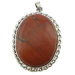 Pendants gur i çmuar bizhuteri, Red Jasper, with Tunxh, Oval Flat, ngjyrë platin praruar, asnjë, 36x59x9mm, : 4x6mm, 20PC/Shumë,  Shumë