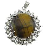 Syri Tiger Pendants, Round Flat, ngjyrë platin praruar, me diamant i rremë, 32x37x12mm, : 4x6mm, 20PC/Shumë,  Shumë