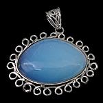 Deti Pendants opal, Deti Opal, with Tunxh, Oval Flat, ngjyrë platin praruar, asnjë, e bardhë, 49x41x8mm, : 6x10mm, 20PC/Shumë,  Shumë