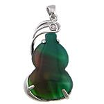 Agat pendants bizhuteri, Agat Malachite, Kungull uji, ngjyrë platin praruar, me diamant i rremë, 21x39x5mm, : 4x5mm, 20PC/Shumë,  Shumë