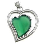 E gjelbër varëse agat, Jeshile agat, with Tunxh, Zemër, ngjyrë platin praruar, asnjë, 30x35x7mm, : 4x7mm, 20PC/Shumë,  Shumë
