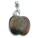 Pendants Indian agat, Mollë, ngjyrë platin praruar, me diamant i rremë, 29x46x7mm, : 4x7mm, 20PC/Shumë,  Shumë