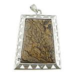 Pendants gur i çmuar bizhuteri, Picture Jasper, Drejtkëndësh, ngjyrë platin praruar, asnjë, 40x56x8mm, : 5x8mm, 20PC/Shumë,  Shumë