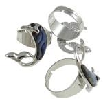 Shell Finger unaza, Alloy zink, with Shell Guaskë & Hekur, Delfin, ngjyrë platin praruar, me diamant i rremë, asnjë, , nikel çojë \x26amp; kadmium falas, 32x25x25mm, : 19mm, :9, 50PC/Kuti,  Kuti