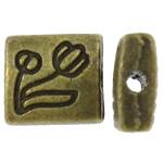 Beads aliazh zink Flat, Alloy zink, Drejtkëndësh, Ngjyra antike bronz i praruar, asnjë, asnjë, , nikel çojë \x26amp; kadmium falas, 7x8x3.50mm, : 1.5mm, 1250PC/KG,  KG