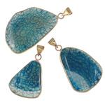 Agat pendants bizhuteri, Blue agat, Shape përziera, natyror, asnjë, 25.5-47mm, : 5-8mm, 20PC/Shumë,  Shumë