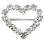 Diamant i rremë shtrëngoj, Tunxh, Zemër, asnjë, me diamant i rremë, asnjë, , nikel çojë \x26amp; kadmium falas, 18x15x3mm, 50PC/Qese,  Qese