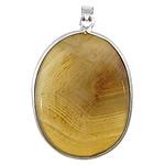 Agat pendants bizhuteri, Agat Kafe, Oval Flat, ngjyrë platin praruar, asnjë, 33x43x10mm, : 4x5mm, 20PC/Shumë,  Shumë