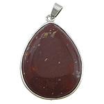 Pendants gur i çmuar bizhuteri, Jasper Brecciated, Lot, ngjyrë platin praruar, asnjë, 32x40x9mm, : 4x6mm, 10PC/Shumë,  Shumë