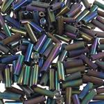Glass Beads praruar Seed, Seed Glass Beads, Tub, colorful kromuar, asnjë, asnjë, 2x6mm, : 1mm, 15000PC/Qese,  Qese