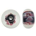 Beads dorë Lampwork, Rondelle, punuar me dorë, asnjë, asnjë, 12x7mm, : 1.5mm, 100PC/Qese,  Qese