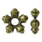 Beads Zink Alloy Spacer, Alloy zink, Flok dëbore, Ngjyra antike bronz i praruar, asnjë, asnjë, , nikel çojë \x26amp; kadmium falas, 11x3.5mm, : 3mm, 1190PC/KG,  KG