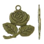 Zinklegierung Blume Anhänger, antike Bronzefarbe plattiert, frei von Nickel, Blei & Kadmium, 26x30x1.50mm, Bohrung:ca. 2.5mm, ca. 320PCs/kg, verkauft von kg