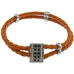 Cord Bracelets PU, Shape Tjera, asnjë, me diamant i rremë & 2-fije floku, portokall, 12x17mm, 6x12mm, 4x12mm, 4mm, :8.5Inç, 10Fillesat/Shumë,  Shumë