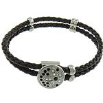 Cord Bracelets PU, Shape Tjera, asnjë, me diamant i rremë & 2-fije floku, e zezë, 18x18mm, 6x12mm, 4x12mm, 4mm, :8.5Inç, 10Fillesat/Shumë,  Shumë