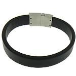 Cord Bracelets PU, Shape Tjera, asnjë, asnjë, e zezë, 27x15mm, 13mm, :8.5Inç, 10Fillesat/Shumë,  Shumë