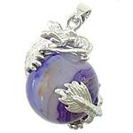 Agat pendants bizhuteri, Purple agat, with dantella agat & Tunxh, Dragua, ngjyrë platin praruar, asnjë, 26x26mm, : 3x4mm, 20PC/Shumë,  Shumë