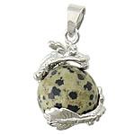 Pendants gur i çmuar bizhuteri, Dalmatian, with Tunxh, Dragua, ngjyrë platin praruar, asnjë, 21x21mm, : 4x6mm, 30PC/Shumë,  Shumë