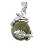 Pendants gur i çmuar bizhuteri, Unakite, with Tunxh, Dragua, ngjyrë platin praruar, asnjë, 21x21mm, : 4x6mm, 30PC/Shumë,  Shumë