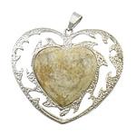 Pendants gur i çmuar bizhuteri, Chrysanthemum Stone, with Tunxh, Zemër, ngjyrë platin praruar, asnjë, 51x43x6mm, : 6mm, 20PC/Shumë,  Shumë