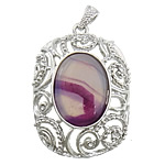Agat pendants bizhuteri, dantella agat, with Tunxh, Drejtkëndësh, ngjyrë platin praruar, me diamant i rremë & i uritur, 35x44x15mm, : 4x7mm, 20PC/Shumë,  Shumë