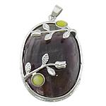 Agat pendants bizhuteri, dantella agat, with Cats Eye & Tunxh, Oval Flat, ngjyrë platin praruar, asnjë, 34x44x14mm, : 4x6mm, 10PC/Shumë,  Shumë