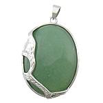 Pendants aventurine, Aventurine jeshile, with Tunxh, Oval Flat, ngjyrë platin praruar, asnjë, 33x43x10mm, : 4x6mm, 20PC/Shumë,  Shumë