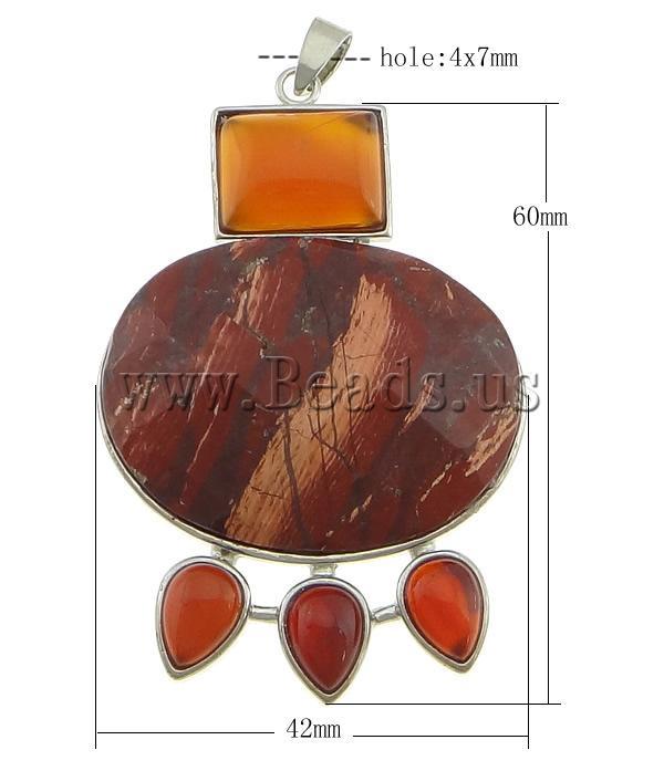 0f1f2fb9225 Gemstone ripatsid Ehted, Punane jaspis, with Punane ahhaat & Messing, Muu  kujundi, Plaatina värvi, kroomitud, lihvitud, 42x60x8mm, : 4x7mm,  10Tk/Palju, ...