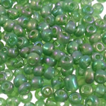 Rainbow Seed Glass Beads, Round, ylber, i tejdukshëm, e gjelbër, 3x3.6mm, : 1.5mm, 5000PC/Qese,  Qese