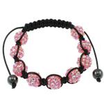 Rrëshirë Shamballa Bracelets, with Cord Wax, Shape Tjera, punuar me dorë, me diamant i rremë, rozë, 10x12mm, : 7.5Inç,  7.5Inç,