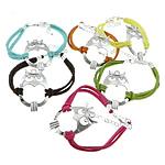 Velvet Bracelets Fashion Cord, Kurrizit Lesh, with Alloy zink, ngjyra të përziera, 24x38x4mm, 2.5mm, :7Inç, 50Fillesat/Shumë,  Shumë